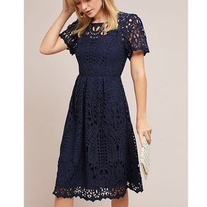 Anthropologie Navy Lace Midi Cutout Dress
